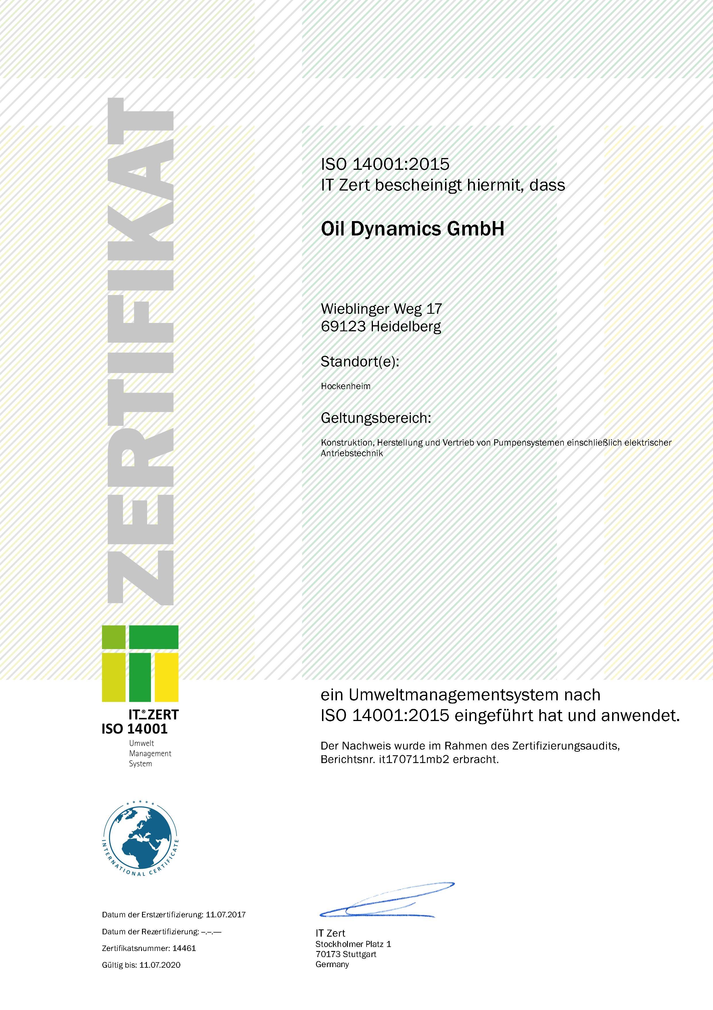 ZERT_ISO14001-2015_Oil Dynamics GmbH_de