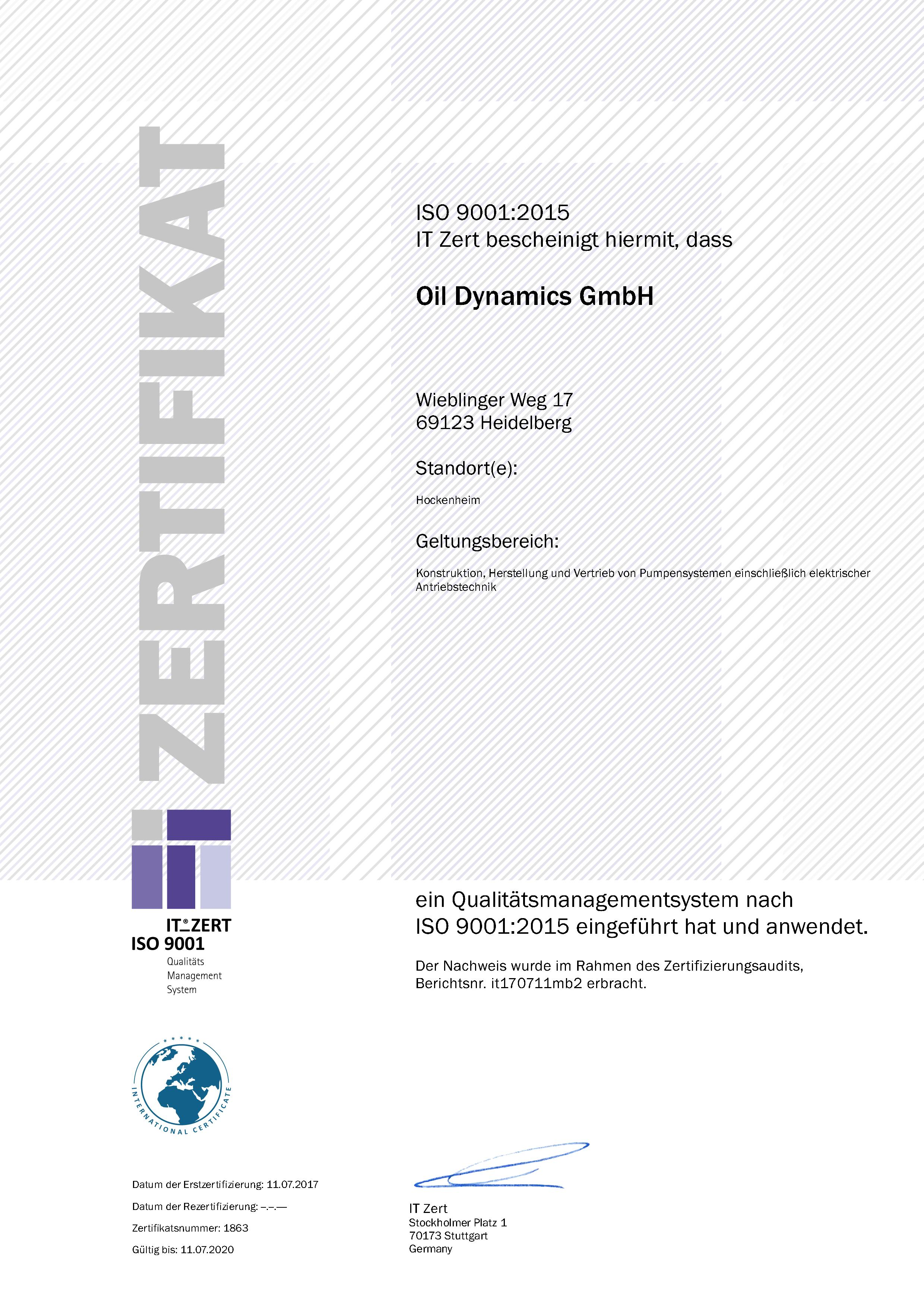 ZERT_ISO9001-2015_Oil Dynamics GmbH_de